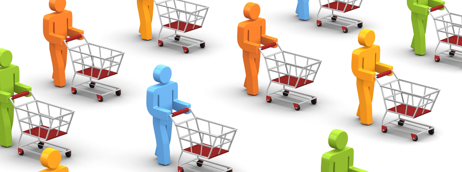 Image of shoppers and shopping carts for Customer Behavior Survey case study